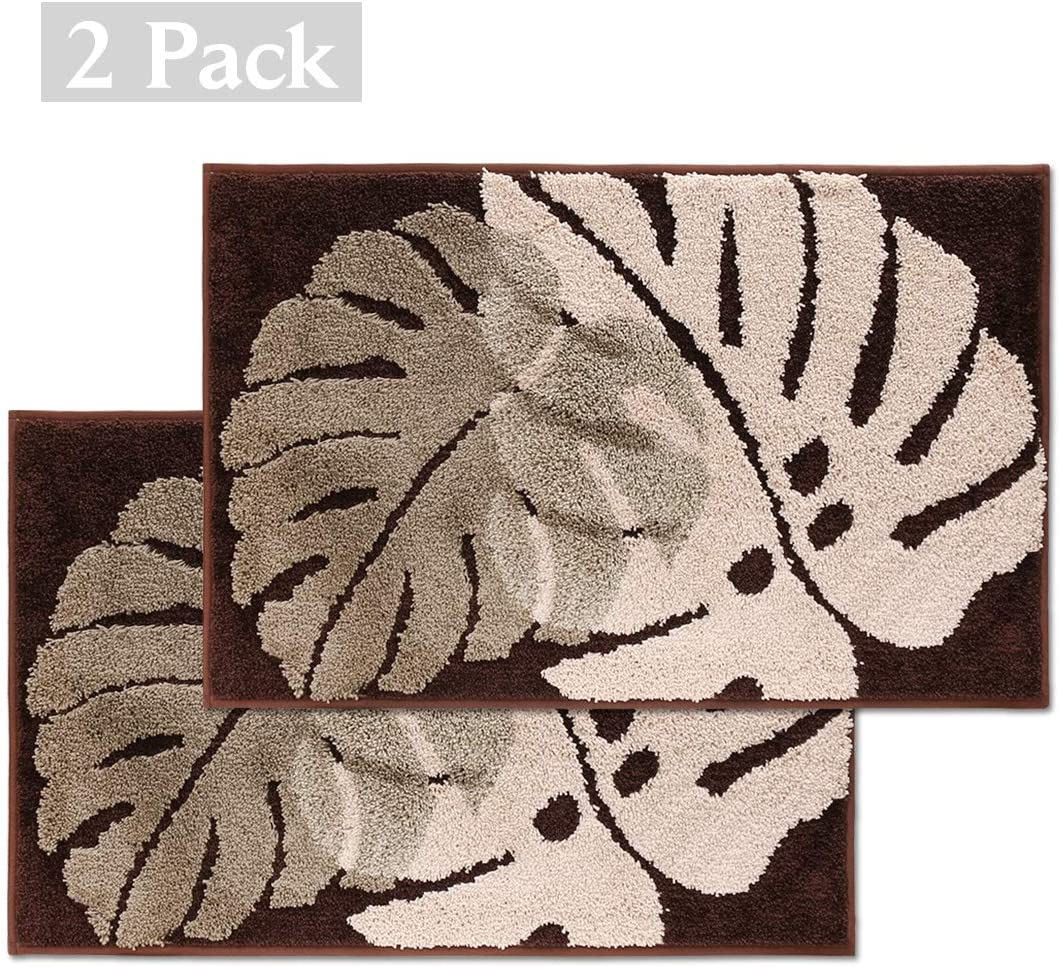 Door Mat Inside,2 Pack Front Back Door Mat 20X31.5 inch Non-Slip Rubber Backing Inoor Doormat Super Absorbent Mud Water Entrance Door Rug Low-Profile Outdoor Mats Machine Washable Carpet Brown Leaf