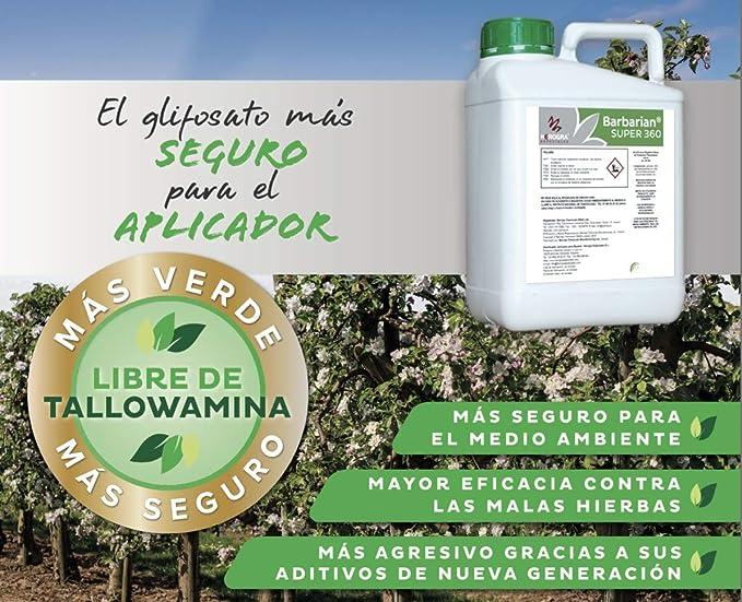 SUPER 360 Herbicida 5 litros Barbariani Maximo Control de Las Malas Hierbas Barbarian Herbicida Trata hasta 1666 m2 / m 1Lt Sin Lesion Superficial: Total absorcion 100% eficacia: Amazon.es: Jardín