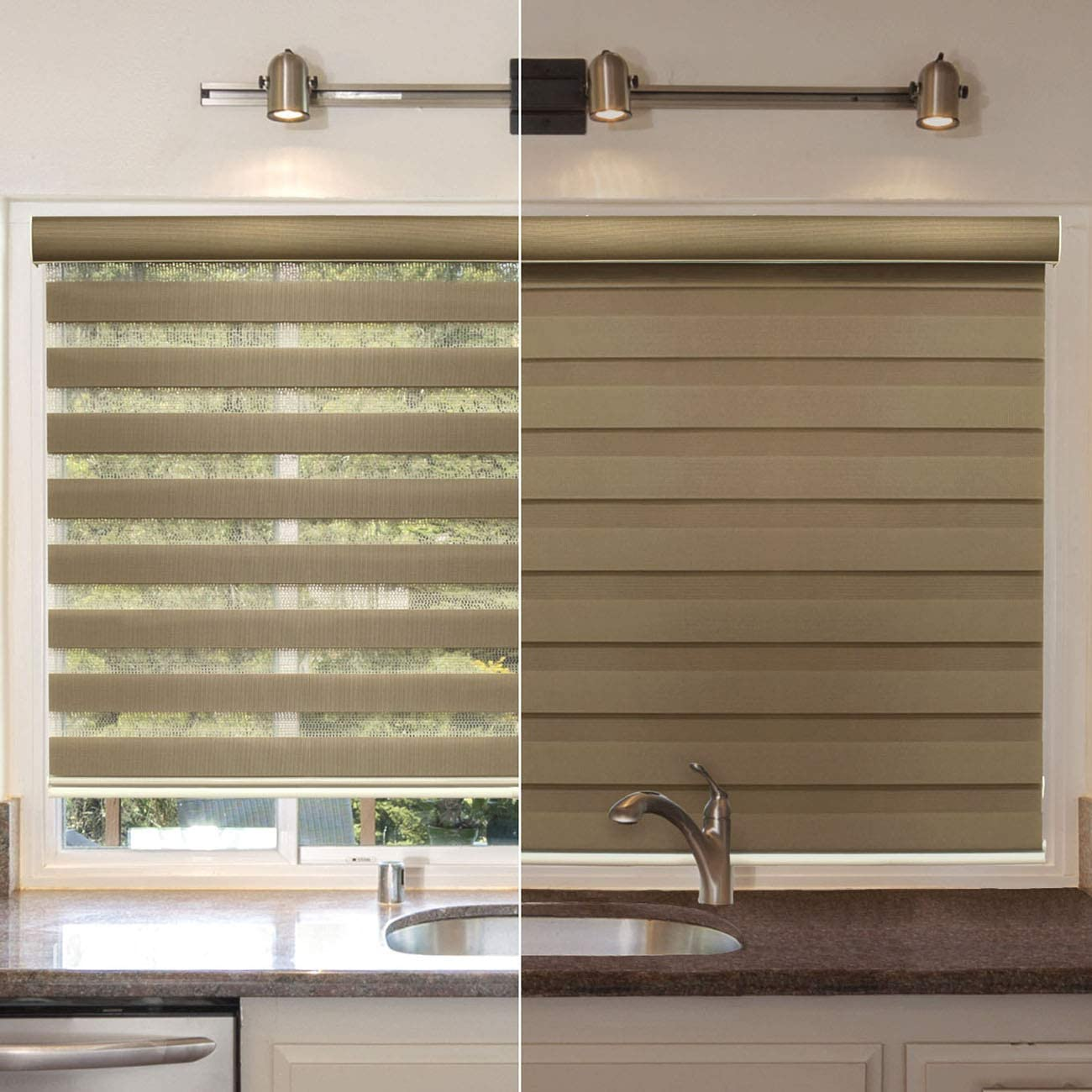 Dual Layer /& Privacy Chicology Cordless Zebra Shades Dual Layer Combi Window Blind - 36W X 72H Striped Mocha