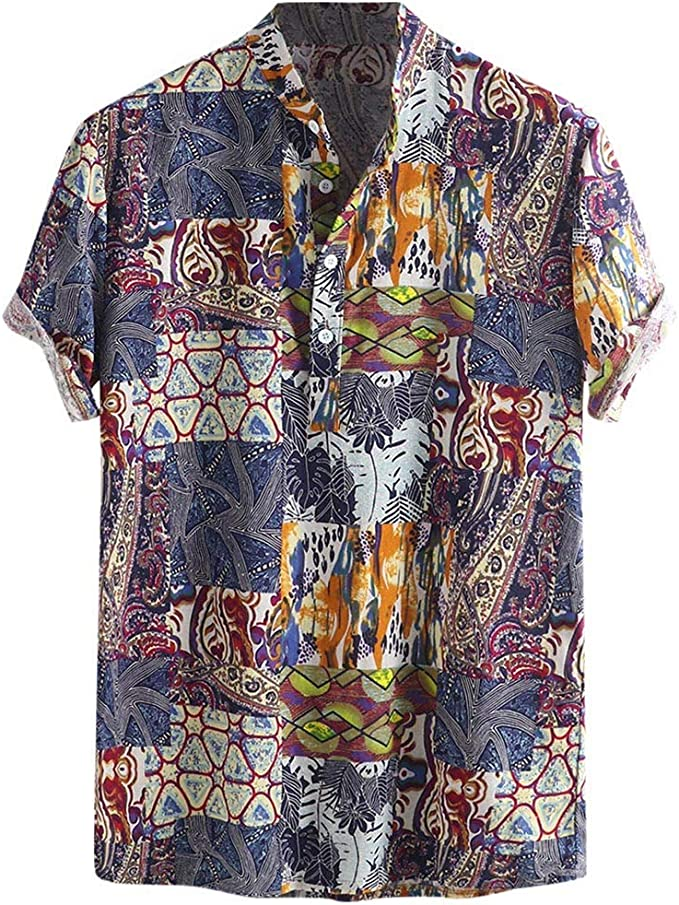 Men/'s Button Down Tee Floral Casual Shirt Loose Party Tops V Neck Short Sleeves