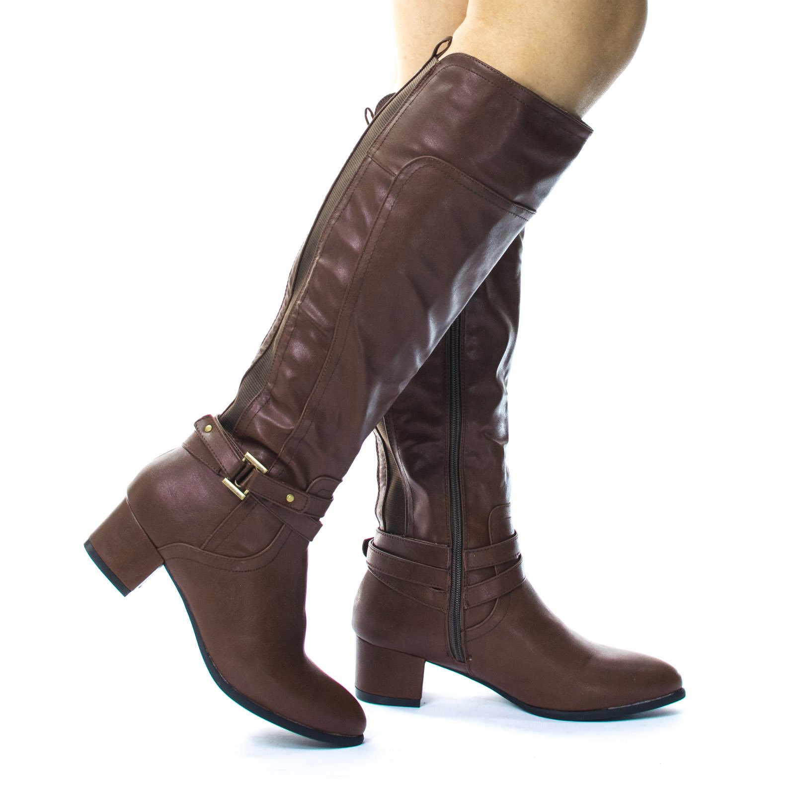 Belted Equestrian Riding Block Heel Boots