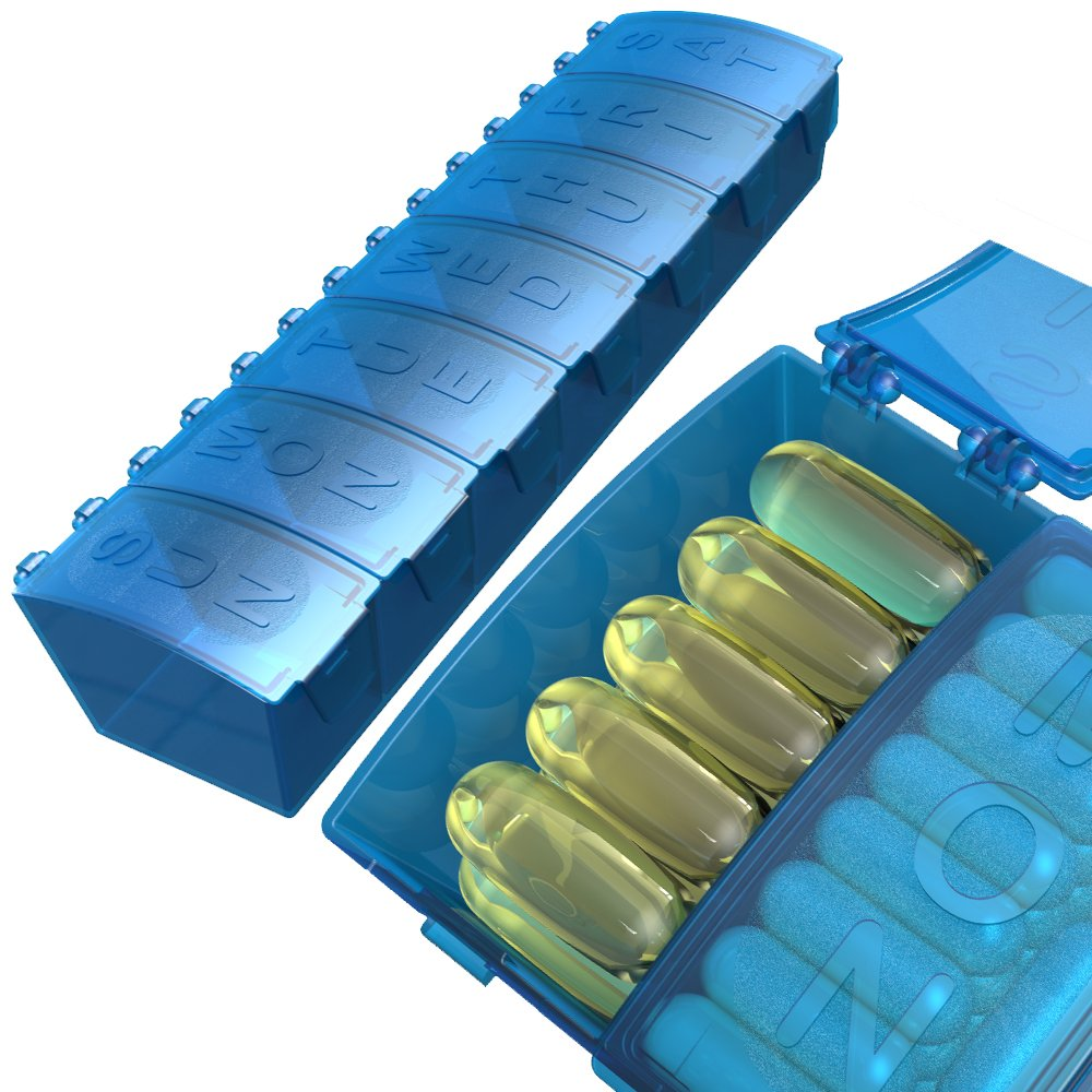 4Thought Med Manager Weekly, Extra Large Pill Organizer, XXL, 7 Day, High Quality
