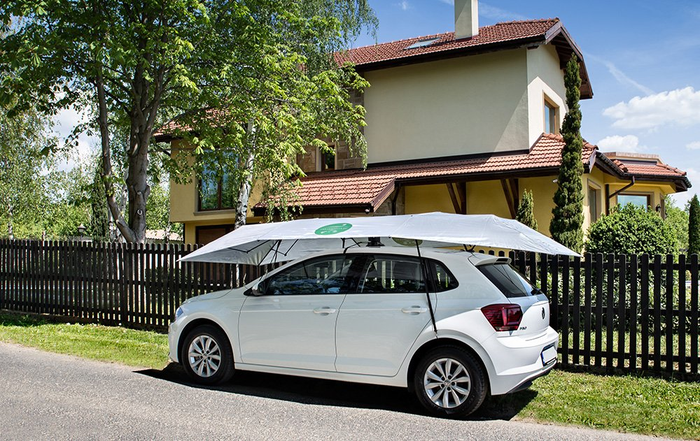 4.0 x 2.1 m Car-Umbrella 40 2 mandos a distancia plata coche tienda de campa/ña autom/ática Mando plegado y distancia port/átil refugio a bordo del coche color: plateado