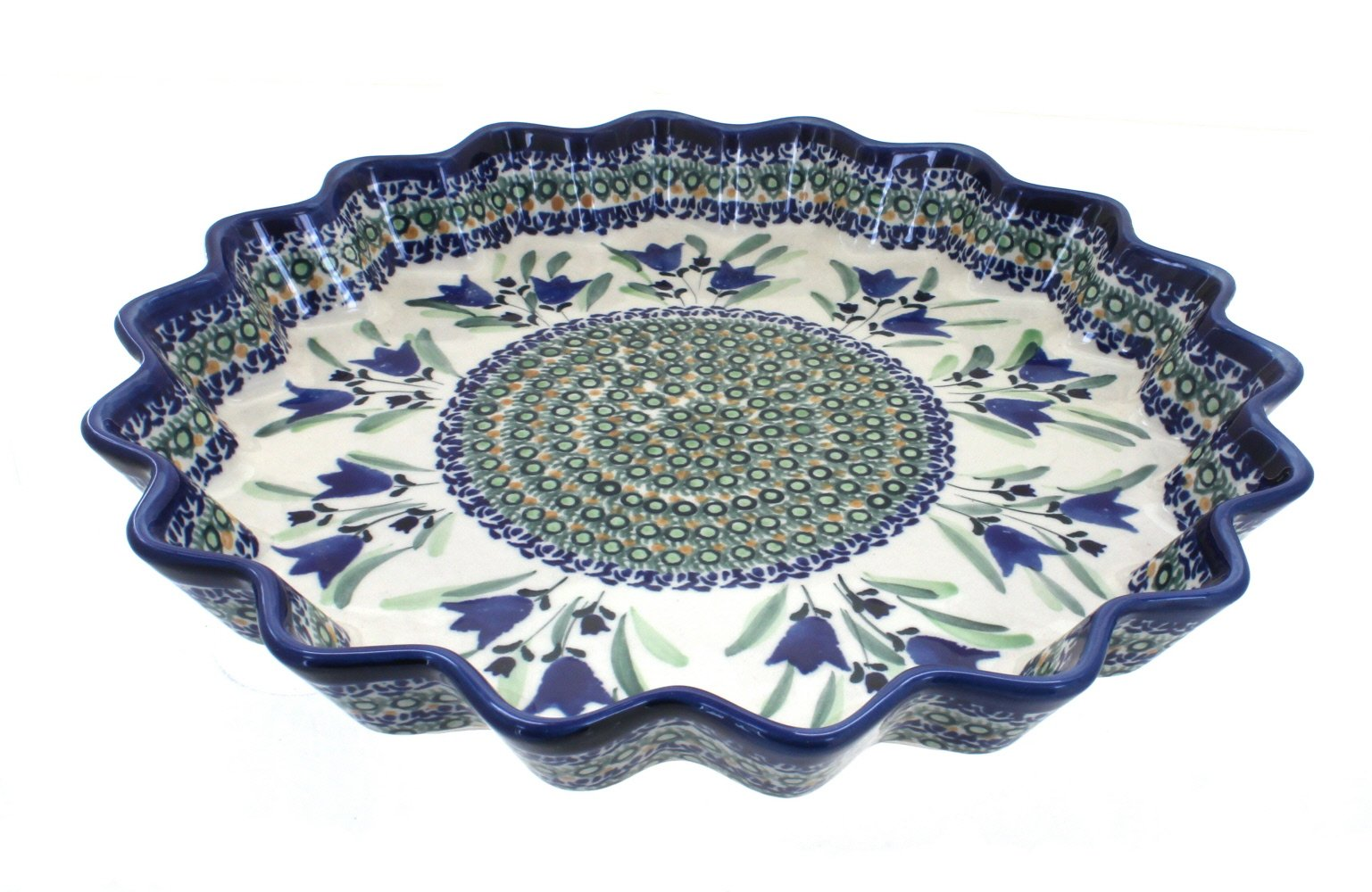 Polish Pottery Blue Tulip Large Fluted Quiche Dish