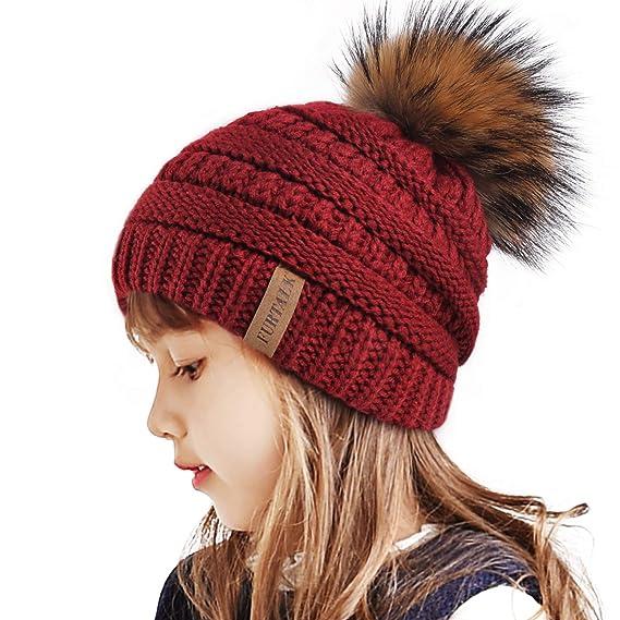 UK Winter Newborn Baby Toddler Kids Boy Girl Fur Bobble Knit Beanie Hats Caps#
