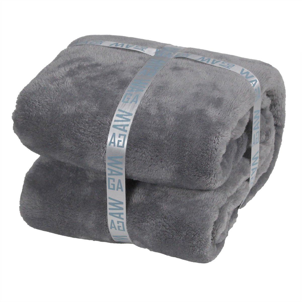 Throw Blanket WAGA - Cozy/Fluffy Plush Double Side 50 x 60 (Aqua)