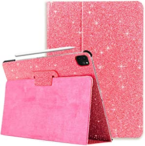 FANSONG iPad Air 4 10.9-Inch 2020 Case Glitter Bling Leather with Auto Sleep/Wake Apple Pencil Holder Slot Shockproof Kids Sparkle Smart Cover for iPad Air 4th Genration, Pink