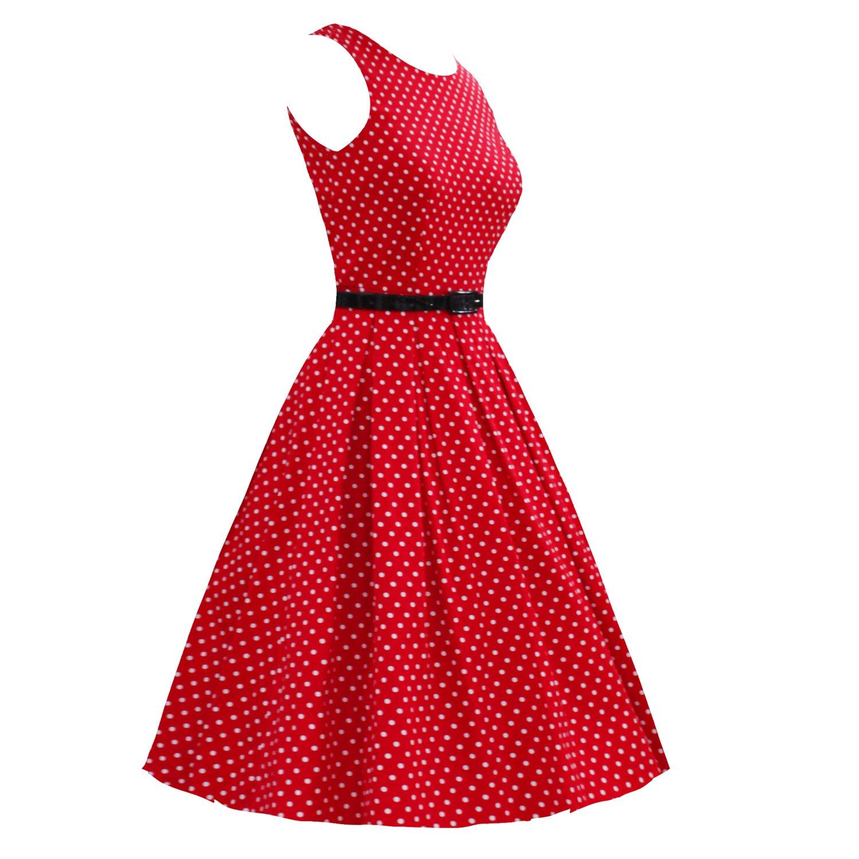 LUOUSE Lana Vestidos Mujer Corto Vintage Retro Estilo de 1950 Rockabilly Escote Elegante, lunares rojo, m: Amazon.es: Ropa y accesorios