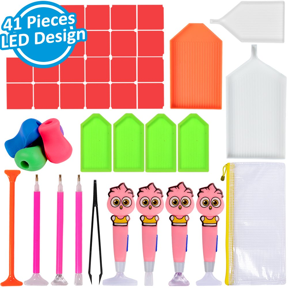 Diamond Painting Tools 41 Pieces 5D Diamond Painting Accessories Kit Including LED Diamond Sticky Pen, Diamond Sticky Pen, Silicone Pen Grip, Tweezers, Glue, Plastic Tray and Storage Bag by INFELING