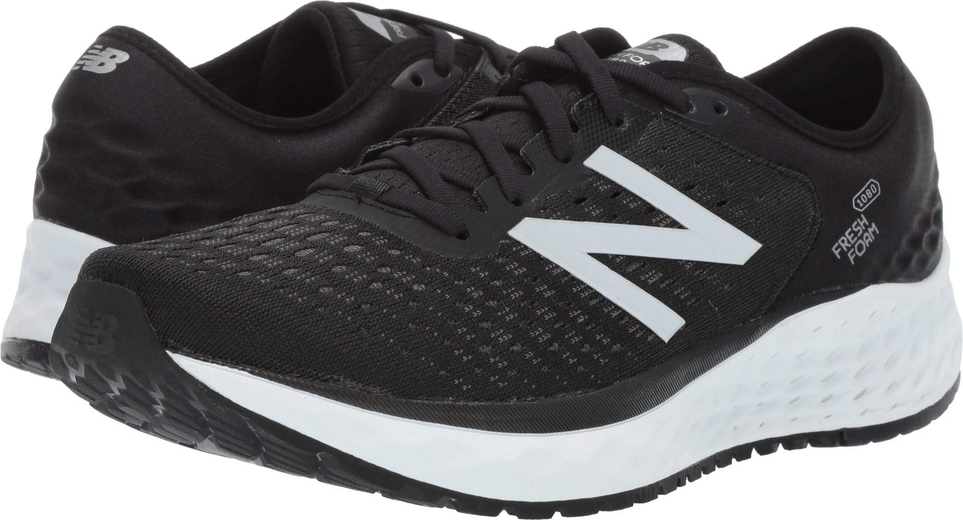 New Balance Men's 1080v9 Fresh Foam Running Shoe, Black/White, 7 W US by New Balance (Image #1)