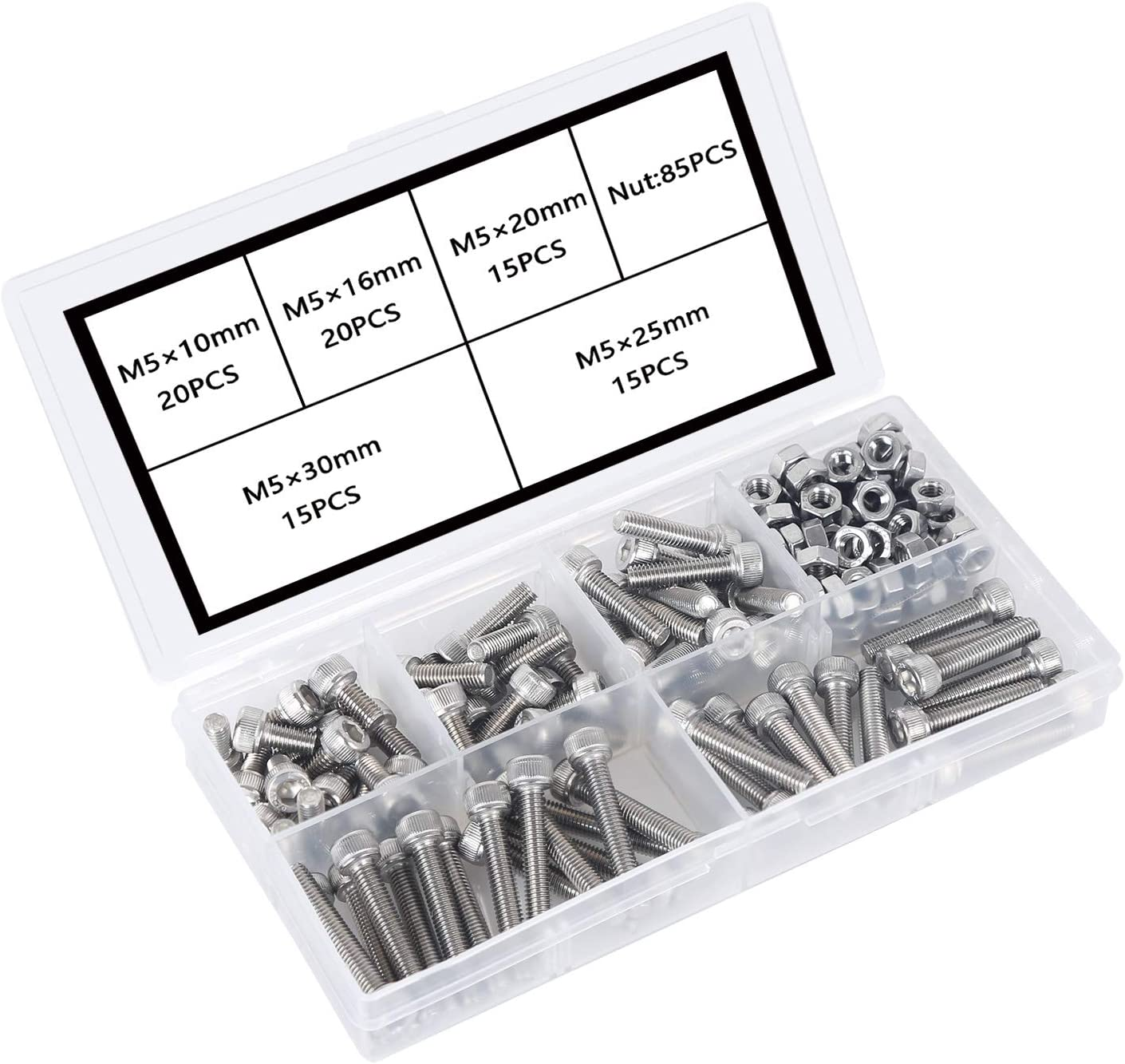 M5 304 Conjunto de Perno de Cabeza Hexagonal de Acero Inoxidable Marco de Hierro Fijo Perno de Zócalo Tornillos Mecánico y Conjunto de Tuercas A Prueba de óxido