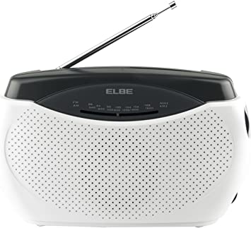 Elbe RR-48 Radio portátil, radio con sintonizador analógico am/fm, radio sobremesa portátil, antena telescópica, alimentación a red o pilas, color ...