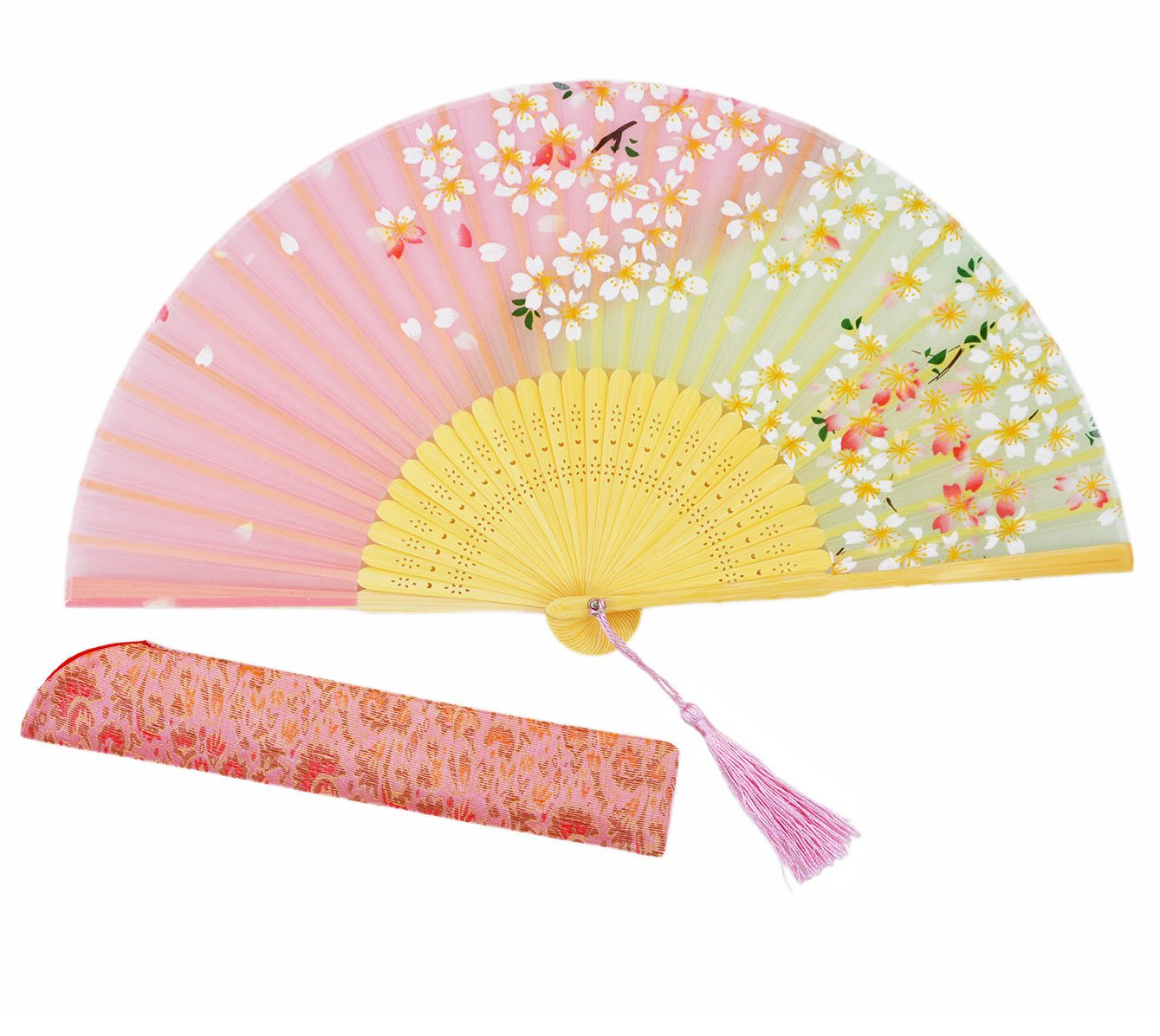 Meifan High Quality Women Hand Held Silk Folding Fan,Chinese / Japanese Vintage Retro Style For Women Ladys Girls (Pink)