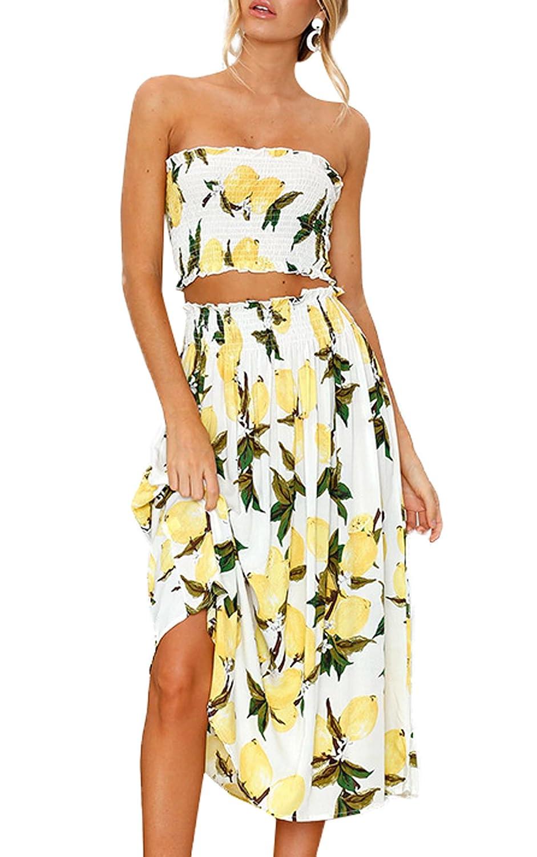 WOZNLOYE Sommer Damen Fashion Druck Zweiteiler Bandeau Kurz Tops Bluse + High Waisted Falten Strand Midi Rock