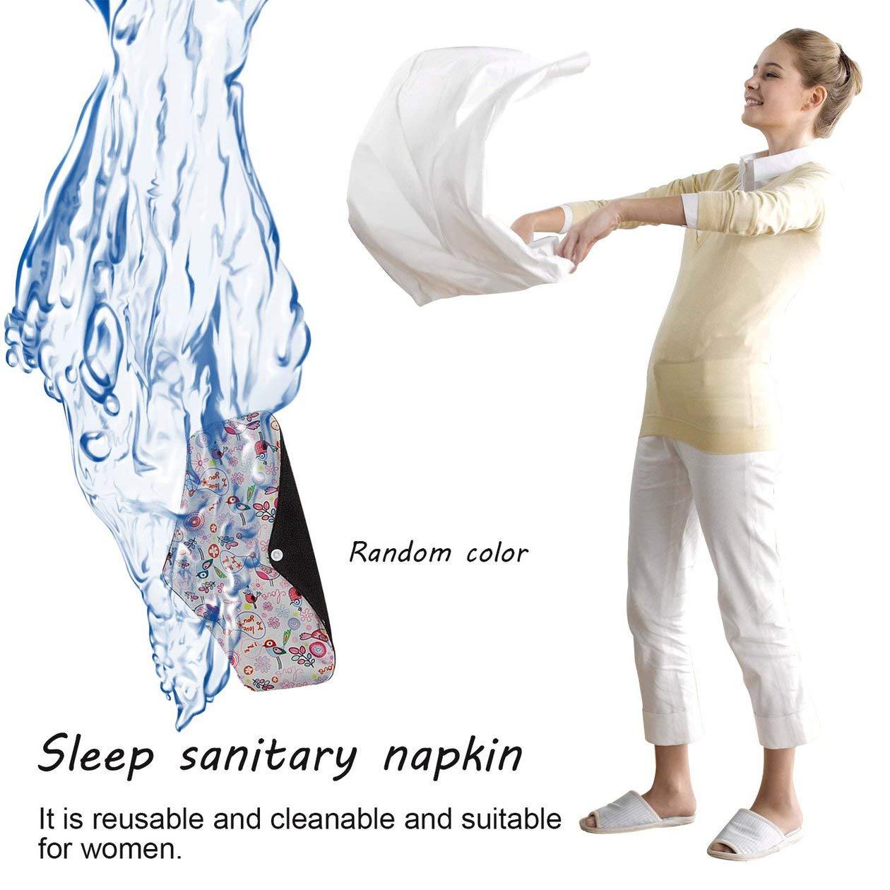 Couleur: al/éatoire Serviette menstruelle lavable pour femmes en tissu de charbon de bambou lavable Nuit-Nuit Serviette hygi/énique Serviette de toilette Nappy