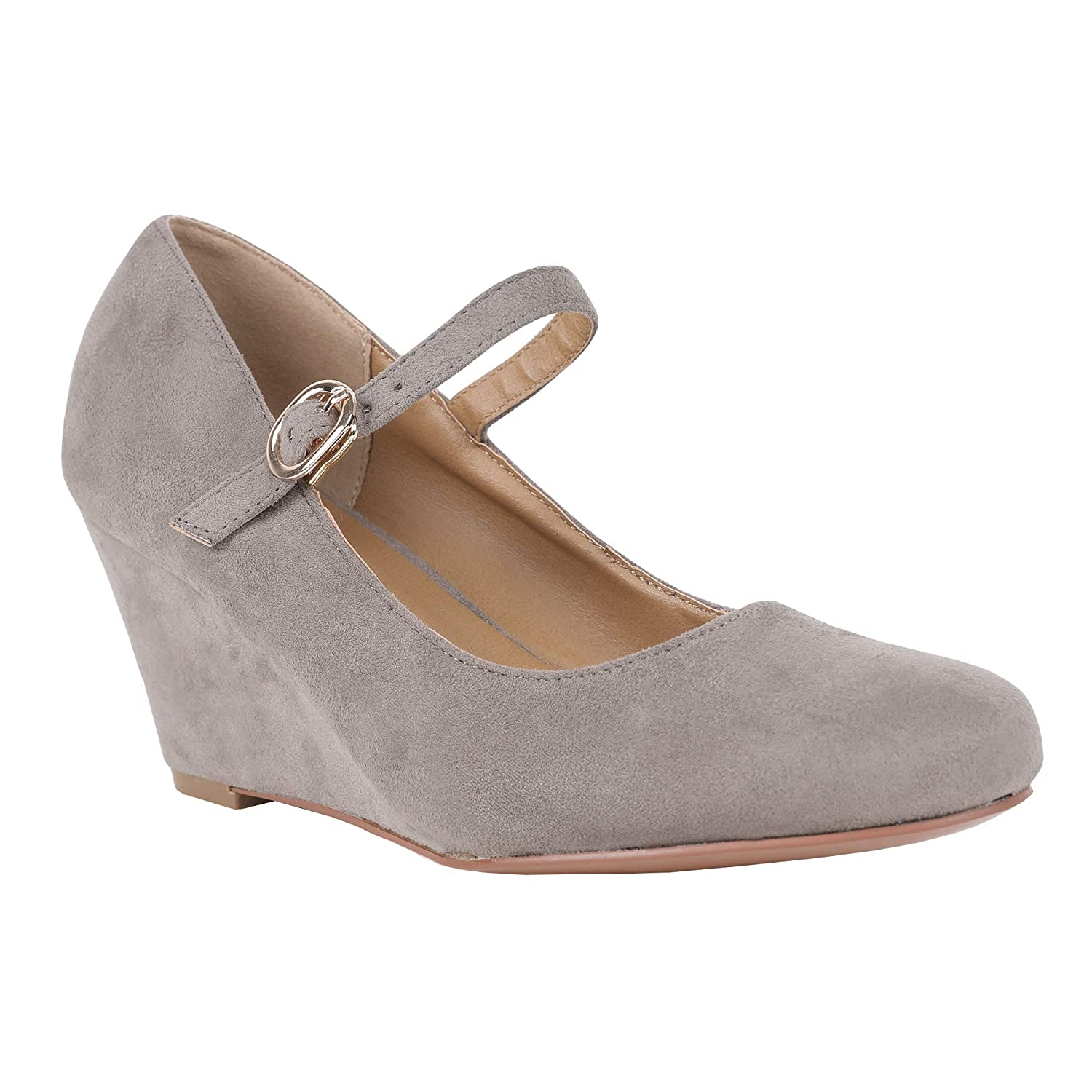 Grey Womens Mary Jane Wedge Pumps Closed Toe Ankle Strap Mid Heel Office Work shoes
