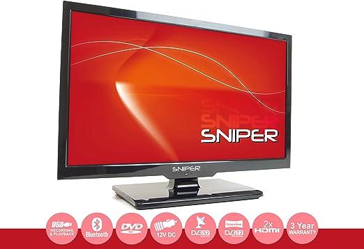 Televisión LED HD de 19 pulgadas lista para viajes con reproductor DVD, satélite y señal abierta, de 12 V y para red eléctrica doméstica TDT y DVB-S2.: Amazon.es: Electrónica