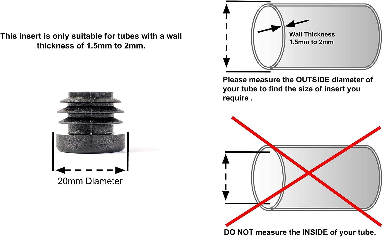 Fabriqu/é en Allemagne Embouts de tube ronds Planeurs de meubles Noir, Diam/ètre 20mm - Avant de commander cette taille voir la deuxi/ème image, Pack de 48 Inserts de Tube