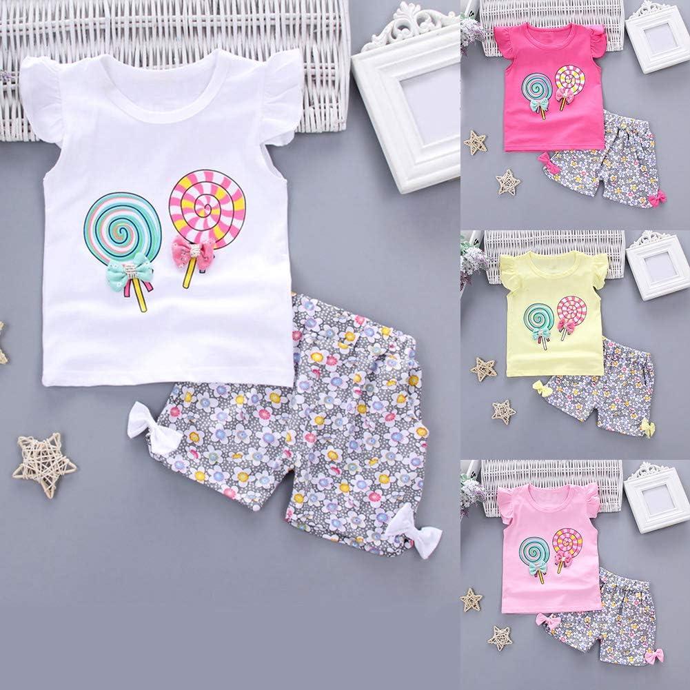 potato001 2Pcs Baby Girls Summer Flare Sleeve Lollipop T-Shirt Flower Shorts Clothes Set