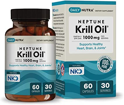 Amazon Com Neptune Krill Oil 1000mg By Dailynutra High Absorption Omega 3 Epa Dha Astaxanthin Pure And Sustainable Clinically Shown To Support Healthy Heart Brain And Joints 30 Servings 60 Softgels