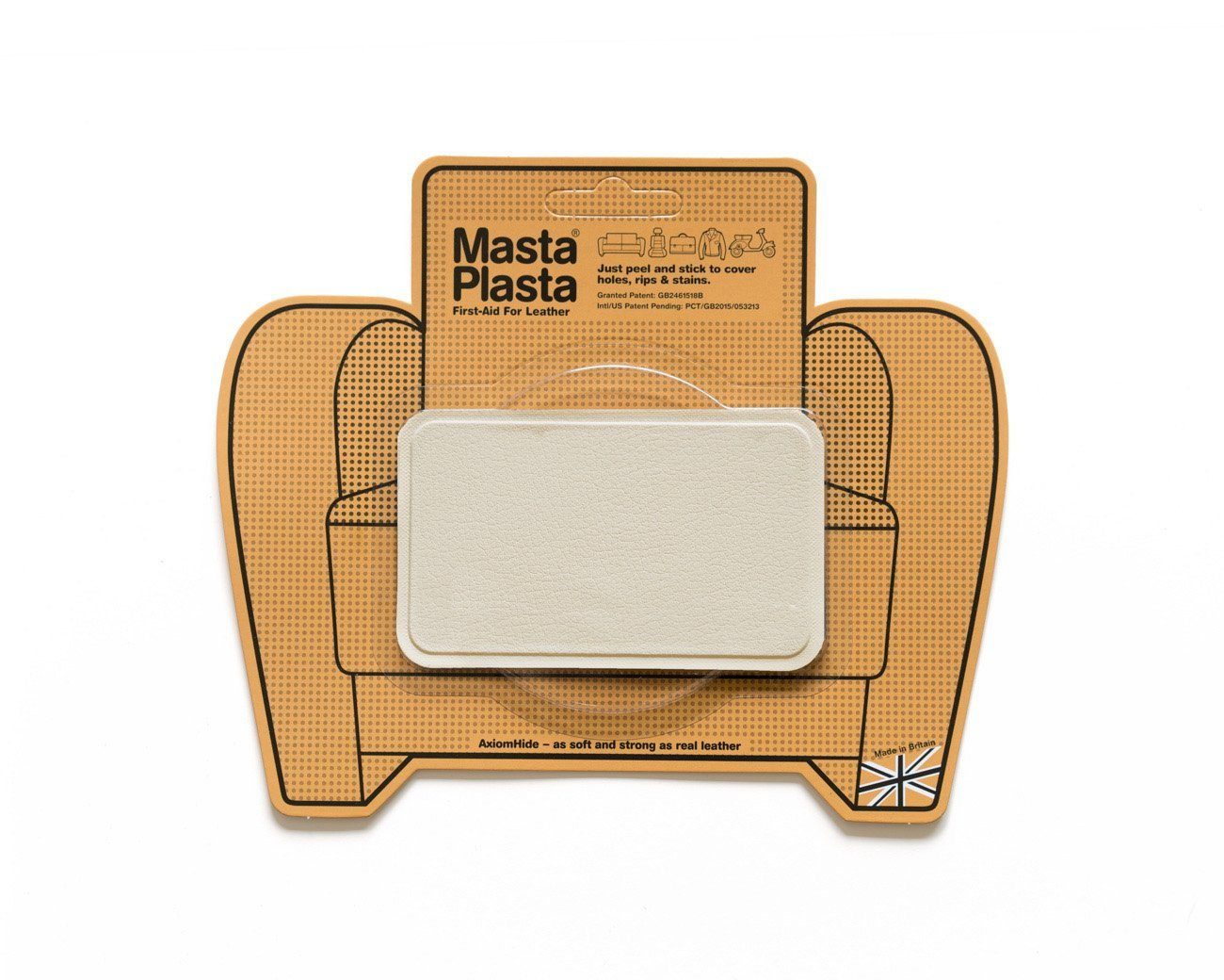 MastaPlasta Peel and Stick First-Aid Leather Repair Band-Aid for Furniture, Medium Plain, 4-Inch by 2.4-Inch, Ivory Mastaplasta Limited IVORYMED4X2.4STITCHUSA