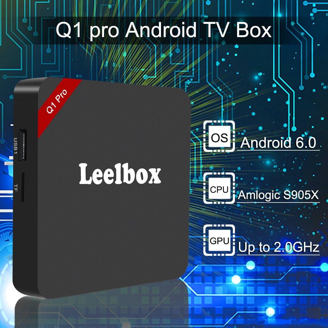 Leelbox Q1 Pro Android TV Box Smart TV Box 64 bits 2K & 4K HDMI 2.0 Quad Core Android 6.0 1 GB RAM y 8 GB Flash: Amazon.es: Electrónica