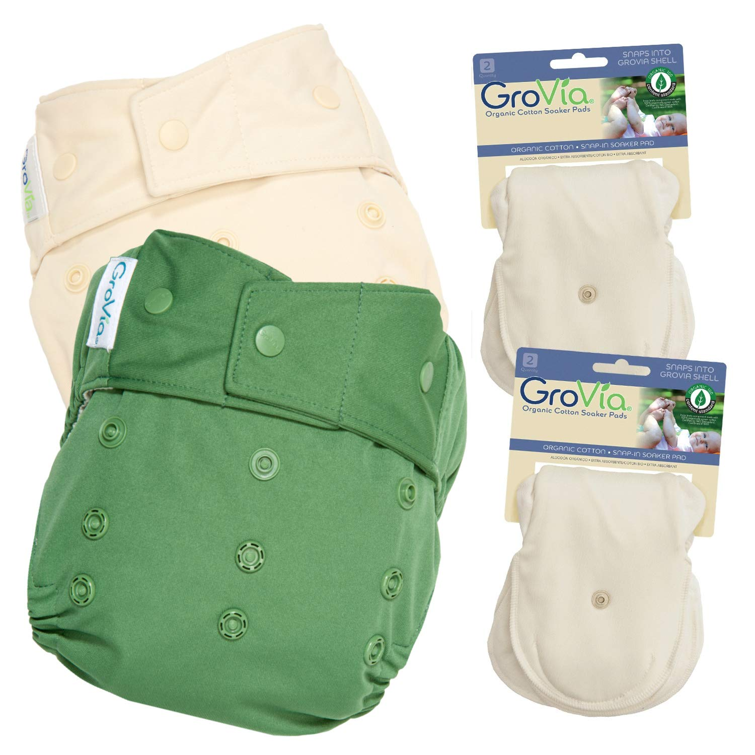 GroVia Experience Package: 2 Shells + 4 Organic Cotton Soaker Pads (Color Mix 2 Snap)