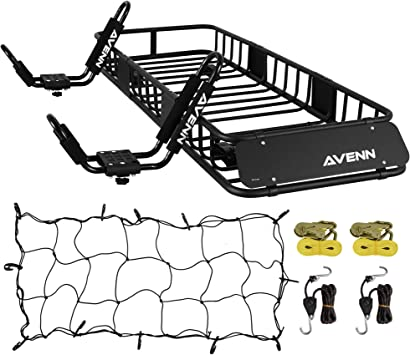 Black AVENN 64 x 23 x 6 Cargo Basket Roof Rack /& J-Bar Rack HD Kayak Carrier Canoe Boat Surf Ski Roof Top Mount Car SUV Crossbar
