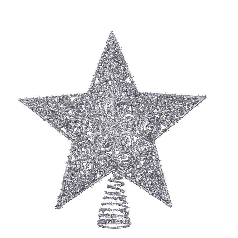 Kurt Adler H9595 12'' Silver Glitter Star Treetop