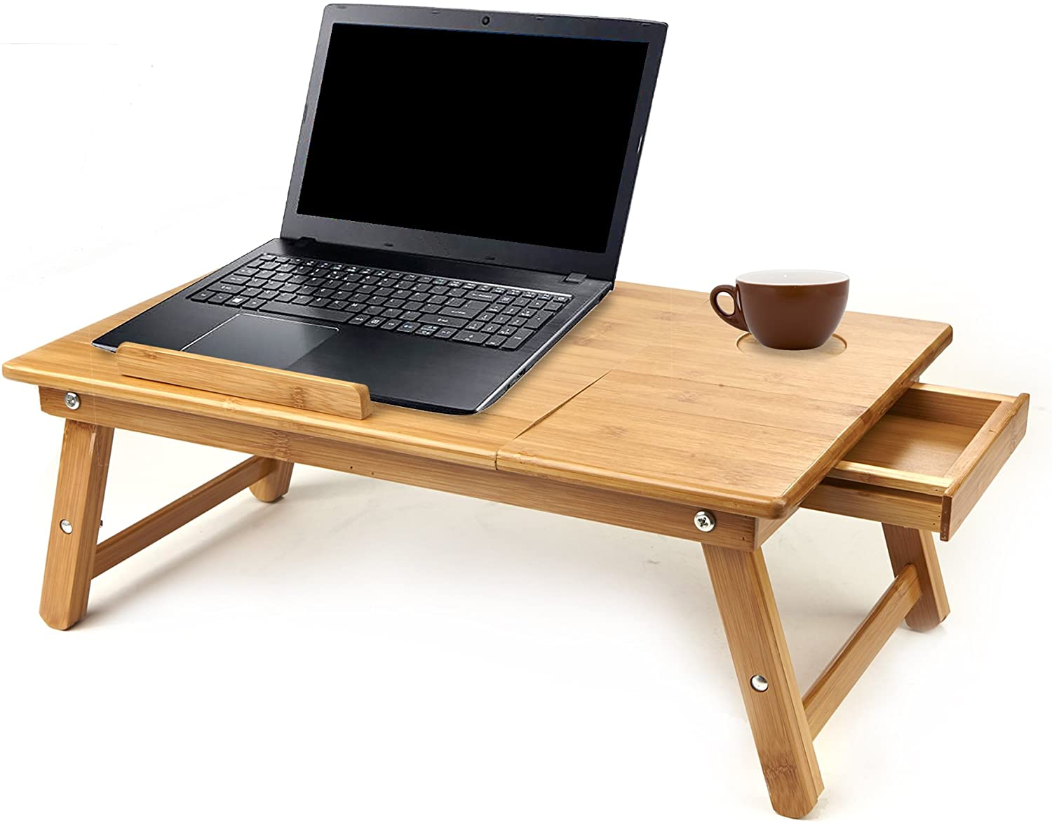 Mind Reader Laptop Lap Desk Flip Top with Drawer, Foldable Legs, Breakfast Tray, Bamboo Brown