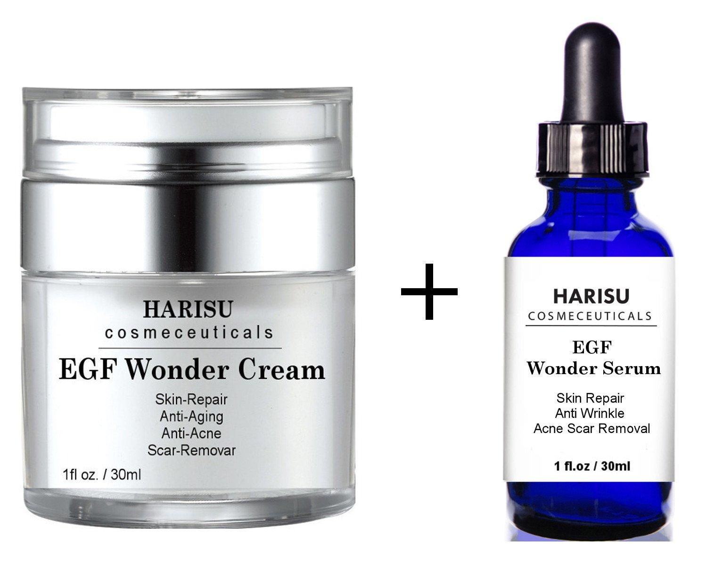 Harisu Cosmeceutical's EGF Cream EGF serum Set - Helps Get Rid of Acne Scars while Hydrating & Regenerating Skin
