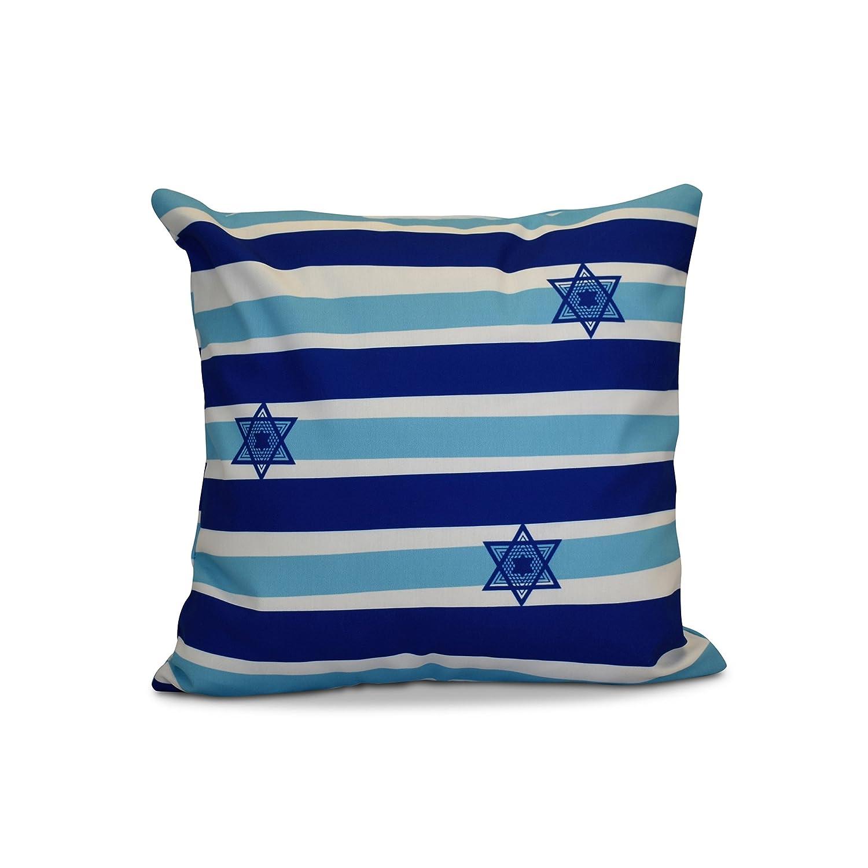 E by design PSHN567BL9BL20-20 20 x 20 inch Decorative Holiday Pillow 20x20 Blue