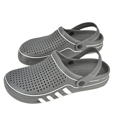L.K Men Clogs Summer Water Shoes Antislip Sandals Slippers Shower Beach Pool Bathroom Breathable Mesh Outdoor Garden Shoes Grey/White | Shoes
