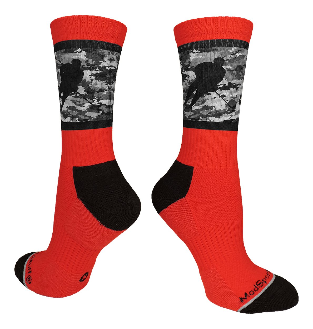 MadSportsStuff Hockey Player Crew Socks (Red/Black Camo, Medium)
