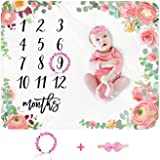 Baby Monthly Milestone Blanket Girl - Floral Newborn Month Blanket Personalized Shower Gift Soft Plush Fleece Photography Bac