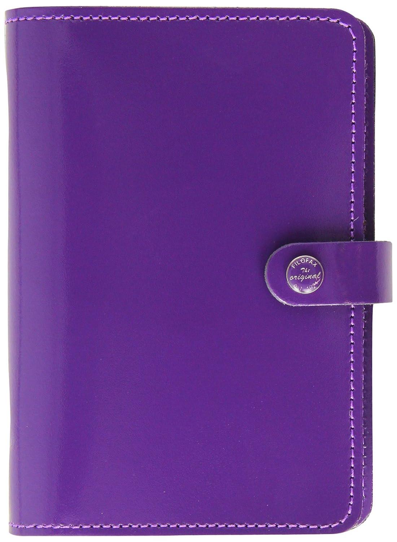 Filofax Personal Leather Original Organizer Agenda Calendar Patent Purple