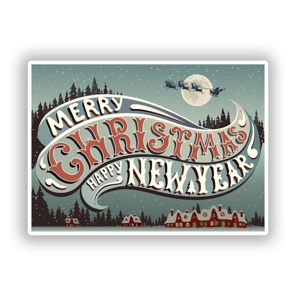 2 x 10cm/101mm Merry Christmas Vinyl Stickers Decoration Window Sticker #10190 DestinationVinyl
