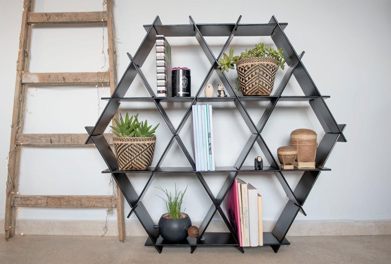 Black Hexagon Bookcase, Shelving Unit, Home Bar Size L Cardboard Shelf