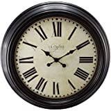"""23"""" H Round Brown Antique Dial Analog Wall Clock with Roman Numerals"""
