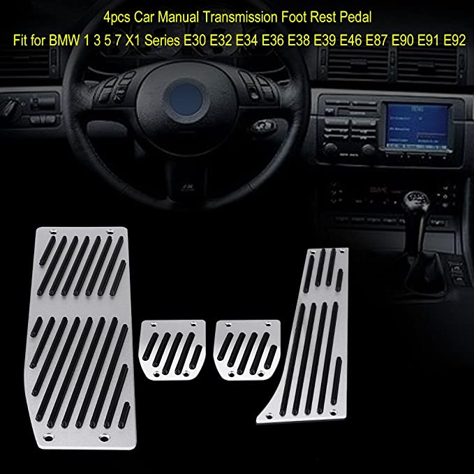 KIMISS 4 piezas Pedal de reposapiés de transmisión manual del coche, Cojín del pedal del reposapiés del freno de embrague (Combinación de pedales): ...