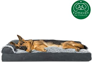 Furhaven Pet Dog Bed | Deluxe Pillow Cushion Chaise Lounge Sofa-Style Living Room Couch Pet Bed w/ Removable Cover for Dogs & Cats - Available in Multiple Colors & Styles