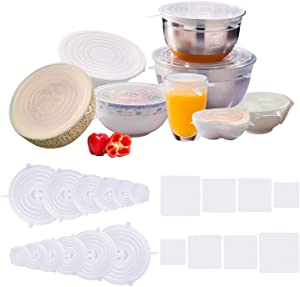 Sel natural 20 Pcs Silicone Stretch Lids - Reusable Silicone Food Wrap Saver Lids Seal Cover, Transparent Eco Friendly Food Storage Bowl Covers for Tupperware, Bowls, Dishes and Plastic Container