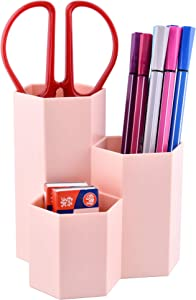 Siveit Pen Pencil Holder, Geometric Pens Cup for Desk, Stationery Pencil Supplies Organizer Caddy for Office Home Desktop (Pink)
