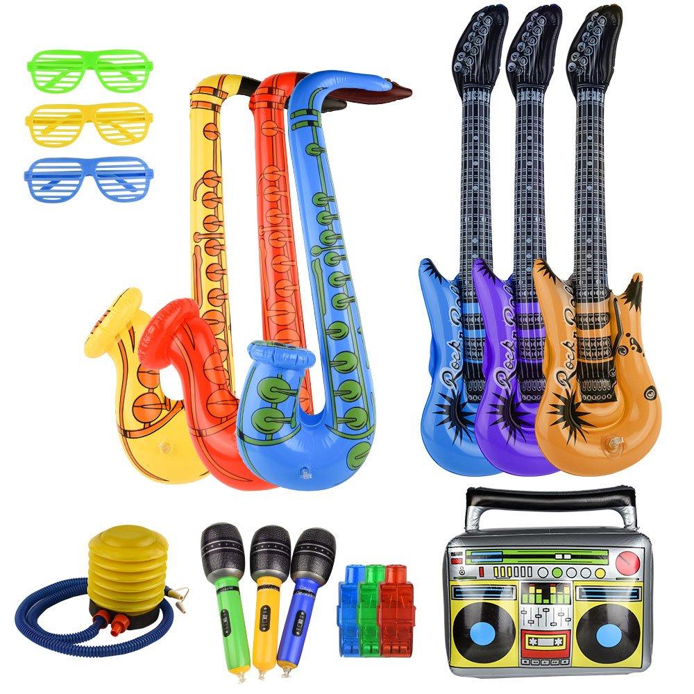 FEPITO 17 PCS Inflatables Saxophone Guitare Microphone Instruments Gonflables Partie Props pour Party Décoration Prop (Couleur Aléatoire)