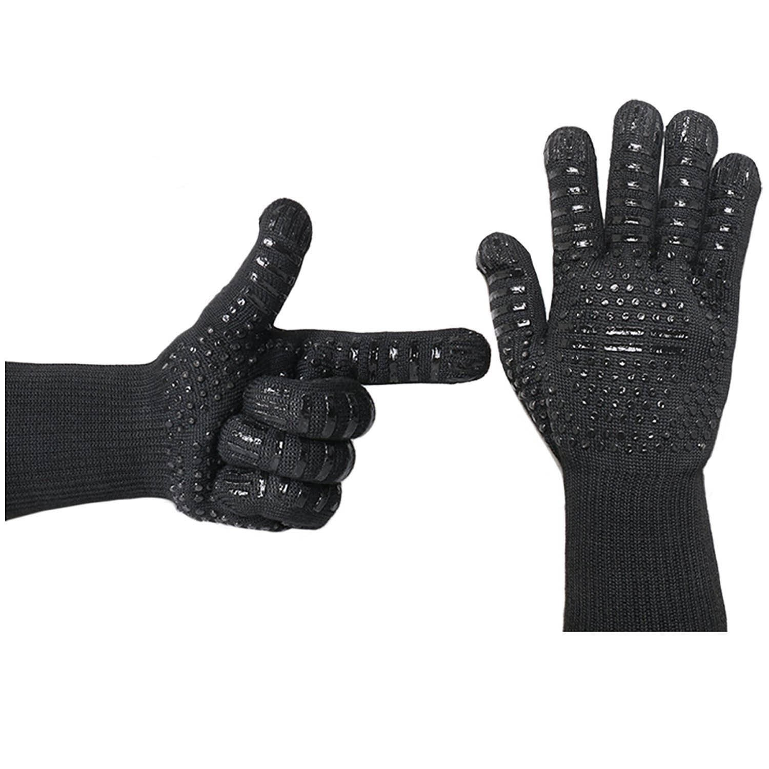 Feezzy BBQ Gloves 932°F Extreme Heat Resistant Oven Gloves For Cooking, Grilling, Baking - Extra Long Cuff(Black)