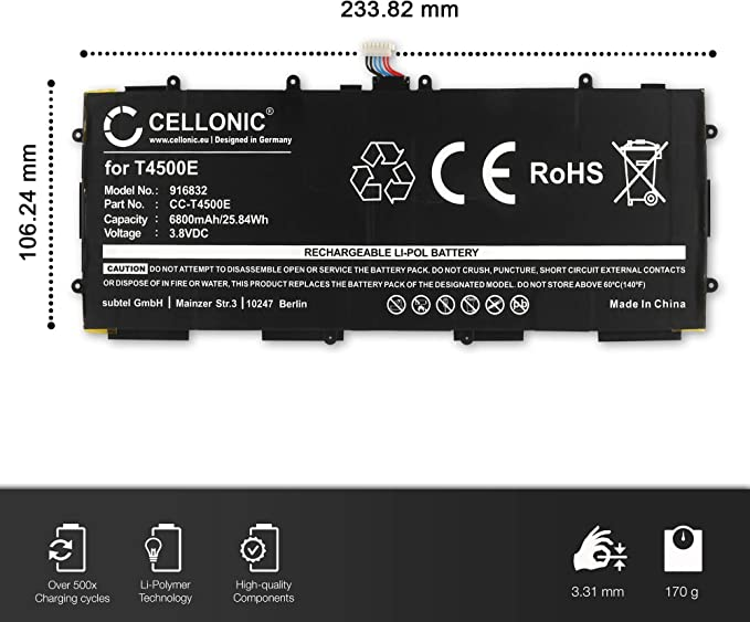 GT-P5200//GT-P5210//GT-P5220 CELLONIC/® Bater/ía Premium Compatible con Samsung Galaxy Tab 3 10.1 Pila reemplazo sustituci/ón T4500E bateria de Repuesto 6800mAh