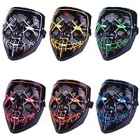 Alxcio LED Halloween Masques Cosplay Masques, La Purge élection an Lumière LED Masque Festival Déguisement Halloween, Bleu, 6 pièces
