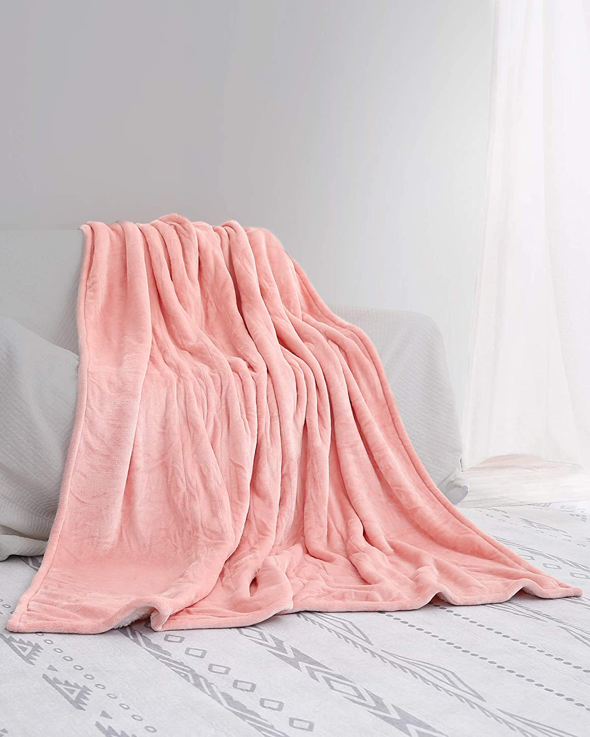 """Electric Heated Blanket Twin Size 62""""x 84"""" Flannel & Sherpa Reversible Blanket for Full Body with 10 Hours Auto Off & 4 Heat Settings, Fast Heating and Machine Washable, Home Office Use-Pink"""