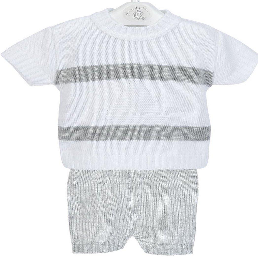Dandellion Spanish Baby Boat Knitted Top & Short Set Grey