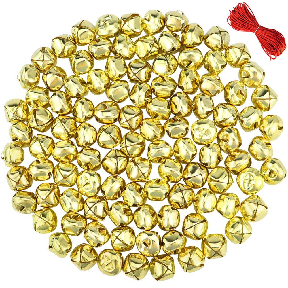 Outuxed 100Pcs 1 Inch Gold Jingle Bells Christmas Craft Bells for Festival Decoration with 20m Red Cord